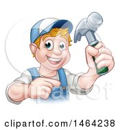 Poster, Art Print Of Cartoon Happy White Male Carpenter Holding A Hammer And Pointing