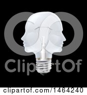 Clipart Of A 3d Double Profiled Faces Light Bulb On Black Royalty Free Vector Illustration