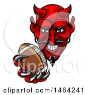 Clipart Of A Grinning Evil Red Devil Holding Out A Football In A Clawed Hand Royalty Free Vector Illustration by AtStockIllustration
