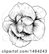 Clipart Of A Black And White Rose Flower In Woodcut Style Royalty Free Vector Illustration by AtStockIllustration
