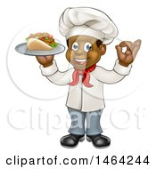 Full Length Cartoon Black Male Chef Holding A Souvlaki Kebab Sandwich On A Tray And Gesturing Perfect
