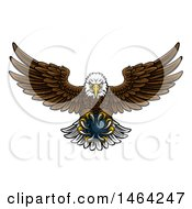 Poster, Art Print Of Cartoon Swooping American Bald Eagle With A Bowling Ball In His Talons
