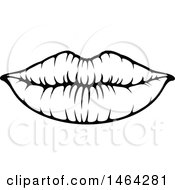 Clipart Of Black And White Lips Royalty Free Vector Illustration by Vector Tradition SM
