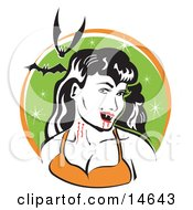 Pale Black Haired Female Vampire With Blood Dripping Off Of Her Fanges And Onto Her Chin Showing The Bite Marks On Her Neck While Two Bats Fly Above Clipart Illustration