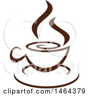 Clipart Of A Brown Hot Steamy Cup Of Coffee Royalty Free Vector Illustration by Vector Tradition SM