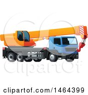 Clipart Of A Big Rig Hauling A Crane Royalty Free Vector Illustration