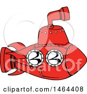Clipart Of A Red Submarine Royalty Free Vector Illustration
