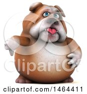 Clipart Of A 3d Bill Bulldog Mascot Giving A Thumb Down On A White Background Royalty Free Illustration