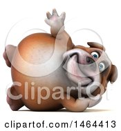 Clipart Of A 3d Bill Bulldog Mascot On A White Background Royalty Free Illustration by Julos