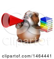 Clipart Of A 3d Bill Bulldog Mascot On A White Background Royalty Free Illustration