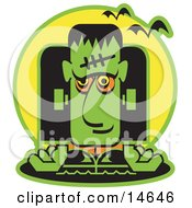 Green Frankenstein With Vampire Bats Clipart Illustration
