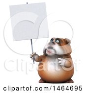 Poster, Art Print Of 3d Bill Bulldog Mascot Holding A Blank Sign On A White Background