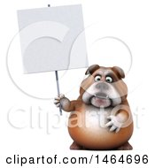 3d Bill Bulldog Mascot Holding A Blank Sign On A White Background