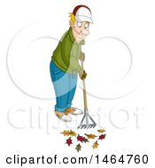 Clipart Of A Happy Man Raking Autumn Leaves Royalty Free Vector Illustration by yayayoyo