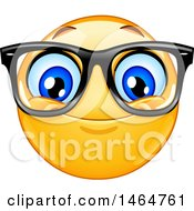 Clipart Of A Happy Yellow Emoji Smiley Face Emoticon Wearing Glasses Royalty Free Vector Illustration