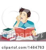 Clipart Of A Teenage Guy Yawning While Studying Royalty Free Vector Illustration