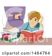Clipart Of A Teenage Guy Reading And Being Watched By An Overbearing Mother Royalty Free Vector Illustration