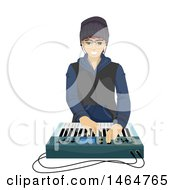 Poster, Art Print Of Teenage Guy Playing With A Music Synthesizer