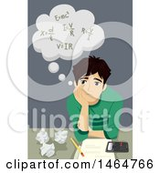 Clipart Of A Teenage Guy Thinking Of Math Formulas Royalty Free Vector Illustration