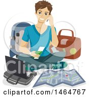 Clipart Of A Teenage Guy Packing For Travel Royalty Free Vector Illustration