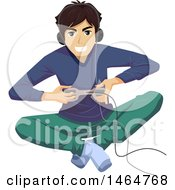 Clipart Of A Teenage Guy Sitting On The Floor And Playing A Video Game Royalty Free Vector Illustration