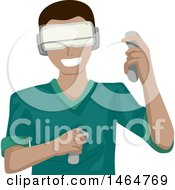 Clipart Of A Teenage Guy Playing A Virtual Reality Game Royalty Free Vector Illustration