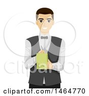 Clipart Of A Teenage Guy Waiter Taking An Order Royalty Free Vector Illustration by BNP Design Studio
