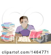 Clipart Of A Teenage Guy Studying At A Desk Royalty Free Vector Illustration