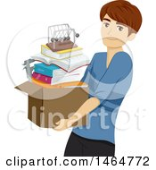 Clipart Of A Teenage Guy Carrying A Box Of Books And A Newtons Cradle Royalty Free Vector Illustration