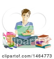 Clipart Of A Happy Teenage Guy Sitting With Gardening Books And Tools Royalty Free Vector Illustration
