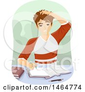 Clipart Of A Teenage Guy Scratching His Head While Studying Royalty Free Vector Illustration