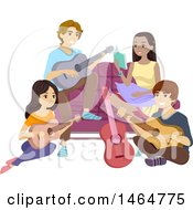Clipart Of A Group Of Teenagers Hanging Out And Playing Guitars Royalty Free Vector Illustration