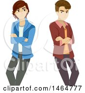 Clipart Of A Gay Teenage Boy Couple Ignoring Each Other After A Break Up Royalty Free Vector Illustration