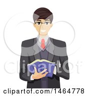 Clipart Of A Nerdy Teenage Guy Holding A Book Royalty Free Vector Illustration