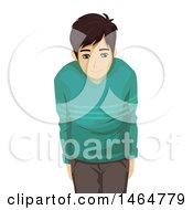 Clipart Of An Asian Teenage Guy Bowing Respectfully Royalty Free Vector Illustration