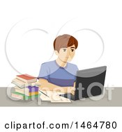 Clipart Of A Teenage Boy Working On A Laptop Computer Royalty Free Vector Illustration