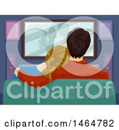 Poster, Art Print Of Rear View Of A Couple Watching A Romance Movie At Home