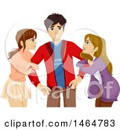 Clipart Of A Couple Of Teenage Girls Fighting Over A Boy Royalty Free Vector Illustration by BNP Design Studio