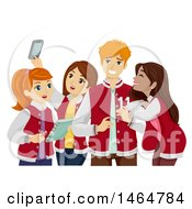 Clipart Of A Group Of High School Teenage Girls Hanging Out With A Popular Guy Royalty Free Vector Illustration by BNP Design Studio
