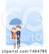 Clipart Of A Teenage Couple Walking On A Winter Day Royalty Free Vector Illustration by BNP Design Studio