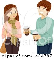 Clipart Of A Teenage Couple With Takeout Coffee Royalty Free Vector Illustration