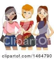 Clipart Of A Group Of Mean Teenage Girls Royalty Free Vector Illustration