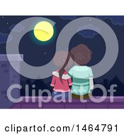 Rear View Of A Teenage Couple Sitting On A Roof And Looking At A Full Moon