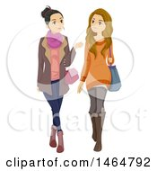 Clipart Of Stylish Teenage Girls Walking Royalty Free Vector Illustration