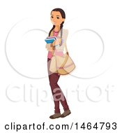 Clipart Of A Native American Indian Teenage Girl Holding Books Royalty Free Vector Illustration
