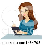 Clipart Of A Teenage Girl Taking Notes On A Tablet Computer Royalty Free Vector Illustration