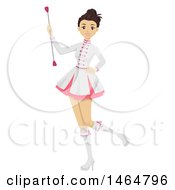Clipart Of A Teenage Girl Majorette Holding A Baton Royalty Free Vector Illustration