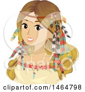 Clipart Of A Teenage Girl In Bohemian Accessories And Clothes Royalty Free Vector Illustration
