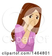 Clipart Of A Teenage Girl Plugging Her Nose In A Stinky Situation Royalty Free Vector Illustration by BNP Design Studio