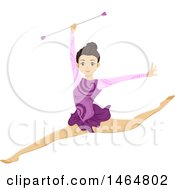 Poster, Art Print Of Teenage Girl Gymnast Leaping And Holding A Baton